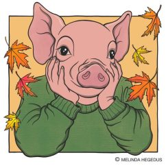 Autumn Piglet Digital Vegan Art by Melinda Hegedus