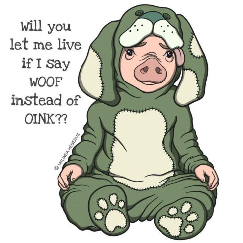 Oink or Woof Digital Vegan Art by Melinda Hegedus