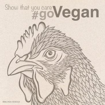 Chicken Digital Vegan Art by Melinda Hegedus