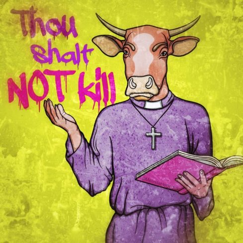 Thou Shalt Not Kill Digital Vegan Art by Melinda Hegedus